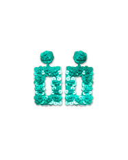Teal Sequin Flower Earrings