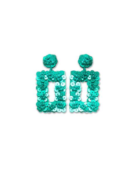 Teal Sequin Flower Earrings