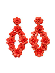 Red Flower Sequin Earrings
