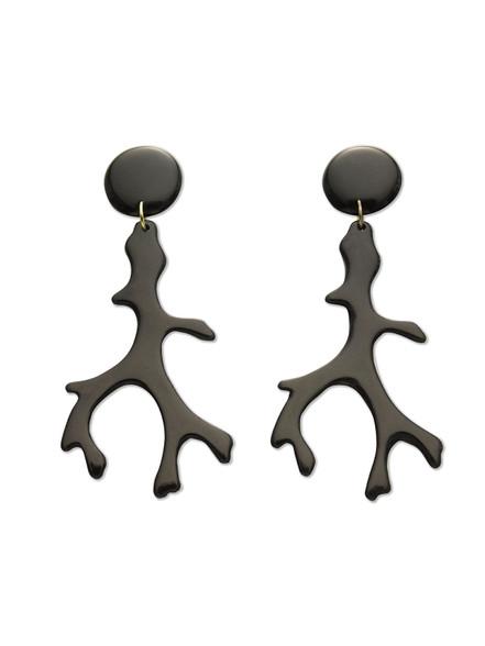 Black Coral Resin Earrings