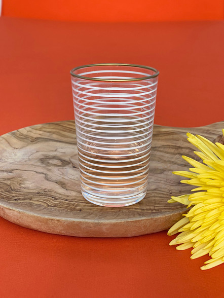 White Strped Tea Glass
