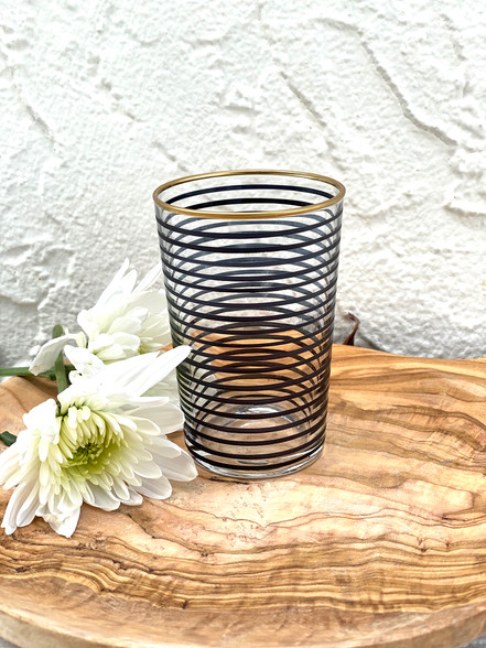 Black Stripe Tea Glass