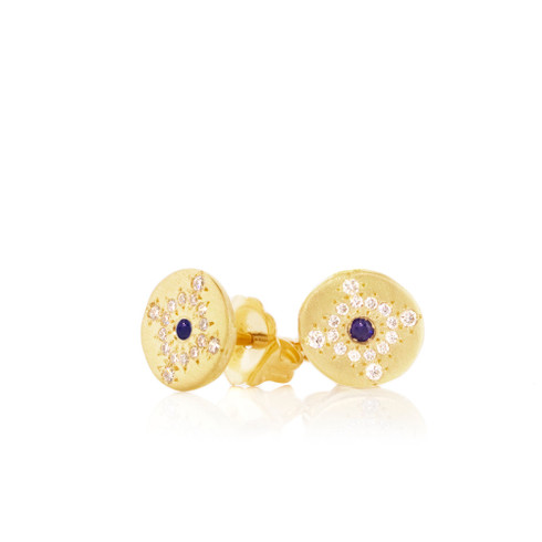 Shimmer Studs with Diamonds and Sapphires