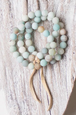 3 stretchy multi colored amazonite beaded bracelets
