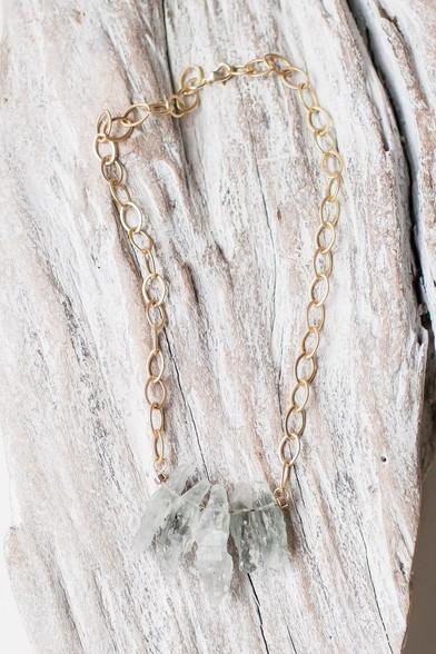 green quartz on a chunky matte brass plated chain