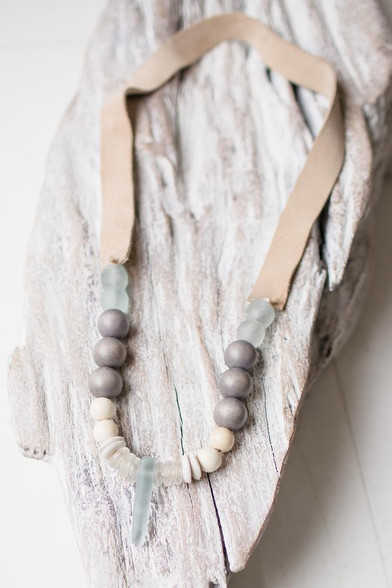 recycled glass and wooden beads