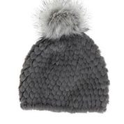 Knit faux fur pom hat