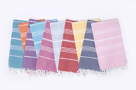 Turkish-T Basic Bath towels come in a array of spring and summer colors.  Slate Gray, Light Gray, Bright Blue, Coral, Yellow, Cranberry, Green