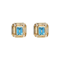 Cava Earrings in Rock Crystal with Blue Topaz
