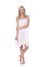 Satin Knee Length Gown With Spaghetti Straps And Gathered Back