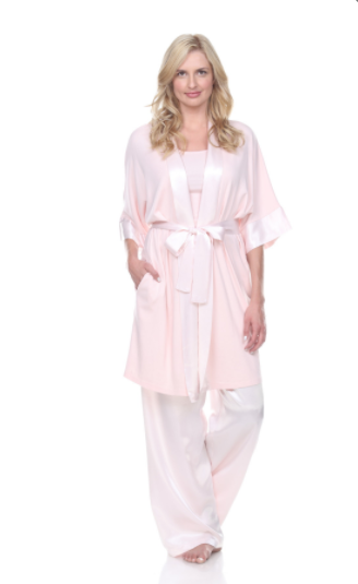 Satin Trimmed Wrapped Robe With Pockets Pictured With Charlie Racerback Tank & Jolie Satin Pant