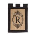 """Burlap Monogram  """"R"""" Garden Flag"""