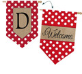 "Burlap Polka-Dot Welcome Monogram ""D"""