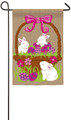 3 Bunnies in Egg Basket Garden Flag