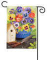 Pretty Pansies and Birdhouse Garden Flag