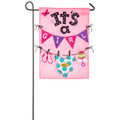 It's a Girl  Applique Garden Flag