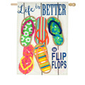 Life Is Better In Flip Flops Linen Banner