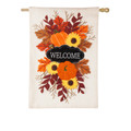 Fall Floral Welcome Burlap Banner