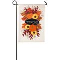 Fall Floral Welcome Burlap Garden Flag