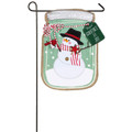 Mason Jar Snowman Linen Garden Flag