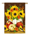 White Pumpkins and Sunflowers Satin Banner