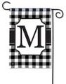 """Monogram """"M"""" Black & White Check Garden Flag"""