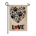 Paw Prints Heart Burlap Garden Flag