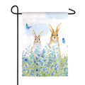 Bunnies in a Meadow Garden Flag