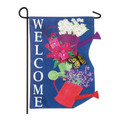 Stacked Watering Cans Burlap Garden Flag