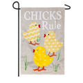 Chicks Rule Burlap Garden Flag