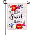 Floral Home Sweet Home Linen Garden Flag