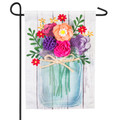 Mason Jar Bouquet Linen Garden Flag