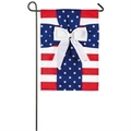 Patriotic Cross Burlap Garden Flag