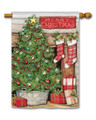 Christmas Tree Fireplace Standard Flag