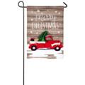 Vintage Christmas Truck Linen Garden Flag