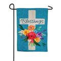 Blessings Floral Cross Garden Flag