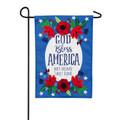 God Bless America Floral Linen Garden Flag