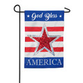 God Bless America Reversible Star Linen Garden Flag