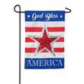 God Bless America Reversible Star Linen Garden Flag
