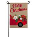 Christmas Flower Truck Burlap Garden Flag