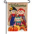 Scarecrow Family Burlap Garden Flag