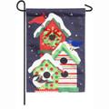 Holiday Cheer Birdhouse Trio Linen Garden Flag