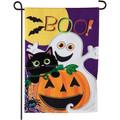 Halloween Boo Linen Garden Flag