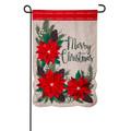 Christmas Poinsettia Floral Linen Garden Flag