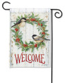 Chickadee Wreath Garden Flag