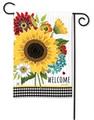 Sunflower Check Garden Flag