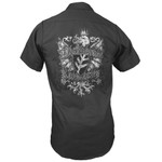 Miskatonic Shield charcoal gray work shirt