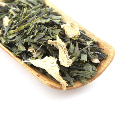 A wonderful blend of Japanese Sencha green tea and ginger.
