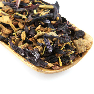 This tea is a wonderful mixture of cinnamon, hibiscus, currents and licorice.