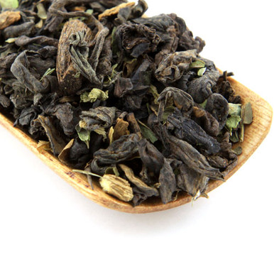 Our vanilla mint Pu'er tea is a wonderful blend combining smooth Pu'er tea, rich vanilla bean and fresh mint leaves.